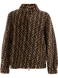 Fendi Ff Logo Jacket Brown