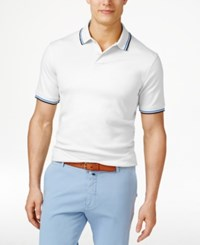 Club Room Men's Interlock Tipped Polo Only At Macy's Bright White