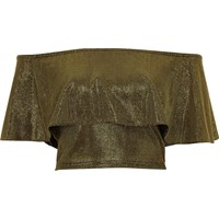 River Island Womens Gold Metallic Deep Frill Bardot Crop Top