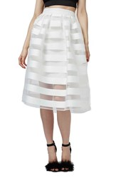 Women's Topshop 'Glass' Sheer Stripe Pleat Midi Skirt White