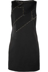 Versace Studded Paneled Satin And Crepe Mini Dress Black