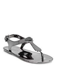 Michael Michael Kors Mk Plate Jelly Thong Sandals Gunmetal