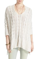 Women's Free People Easy Cable V Neck Sweater Ivory