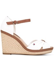 Tommy Hilfiger Textile Wedges Women Cotton Rubber 38 White