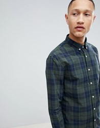 Pier One Poplin Check Shirt In Green And Navy Check