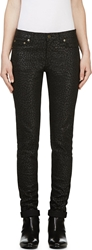 Saint Laurent Waxed Black Babycat Print Skinny Jeans