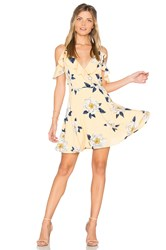 J.O.A. Flower Print Cold Shoulder Flare Dress Yellow