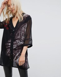 Religion Relaxed Button Front Baseball Dress With Dark Feather Print Jet Black Chilli Pe