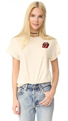 Madeworn Rock Rolling Stones Pocket Patch Tee Dirty White
