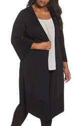 Foxcroft Plus Size Mila Bell Sleeve Long Cardigan Black