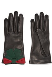 Gucci Bow Embellished Textured Leather Gloves Black