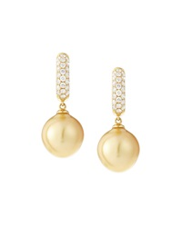 Belpearl South Sea Golden Pearl And Diamond Hoop Earrings