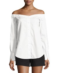 Rag And Bone Rag And Bone Kacy Reversible Poplin Off The Shoulder Tunic White Women's Size L