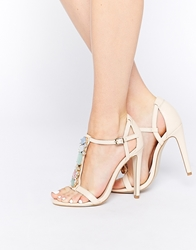 Asos Heat Of The Moment Heeled Sandals Nude