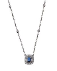 Diana M. Jewels 18K White Gold Diamond And Sapphire Pendant Necklace