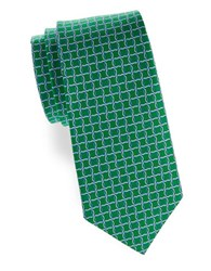 Brooks Brothers Geometric Print Silk Tie Green