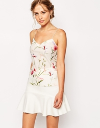 Ted Baker Printed Cami Top With Scallop Edge Ivory