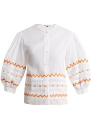 Jupe By Jackie Agrigan Embroidered Cotton Organdy Blouse White