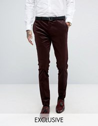 Only And Sons Super Skinny Suit Trouser In Cord Burgundy Red
