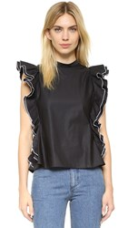Shakuhachi Open Back Ruffle Top Black