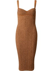 Gig Fitted Knit Dress Yellow And Orange