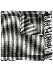 Saint Laurent Houndstooth Print Scarf Black