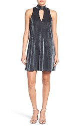 Soprano Women's Mock Neck Metallic Shift Dress
