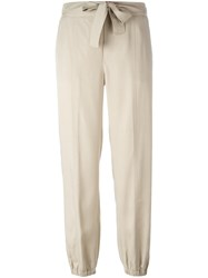 Blumarine Gathered Ankle Trousers Nude Neutrals