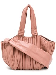 Max Mara Large Pleated Tote Pink