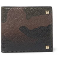 Valentino Rockstud Camouflage Print Full Grain Leather Billfold Wallet Green