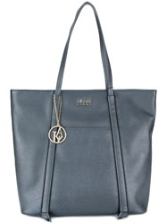 Armani Jeans Piped Detail Shoulder Bag Blue