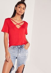 Missguided V Neck Cross Strap Front T Shirt Red Red