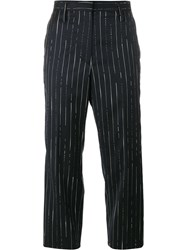 Golden Goose Deluxe Brand Stripe Cropped Trousers Blue