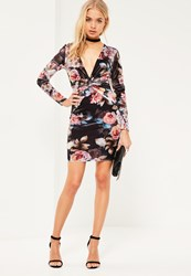 Missguided Black Floral Knot Front Mini Dress
