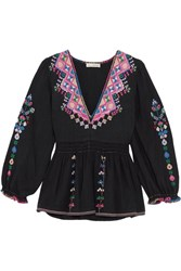 Ulla Johnson Maja Embroidered Silk Canvas Blouse Black