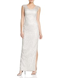 Kay Unger V Neck Cap Sleeve Lace Gown Platinum