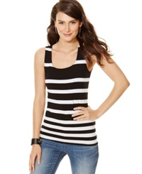 Inc International Concepts Printed Square Neck Tank Top Black And White