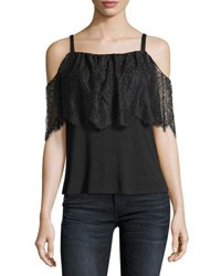 Bailey 44 Montage Cold Shoulder Top With Lace Overlay Black