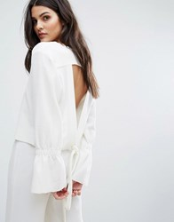 House Of Sunny Open Tie Back Top With Flare Cuff White