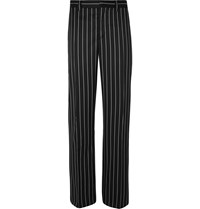 Burberry Black Wide Leg Pinstriped Virgin Wool Blend Suit Trousers Black