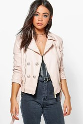 Boohoo Belted Button Faux Leather Jacket Nude