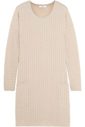 Max Mara Veggia Cable Knit Wool And Cashmere Blend Dress Beige