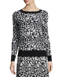 Carmen By Carmen Marc Valvo Leopard Print Jacquard Long Sleeve Top