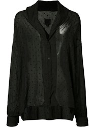 Rta Buttoned Sheer Blouse Black