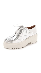 Jeffrey Campbell Baird Platform Oxfords Silver Metallic White