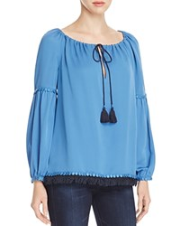 Tory Burch Sylvie Silk Peasant Blouse Evening Blue