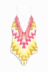 Missoni Zigzag Fringe Halter One Piece Yellow