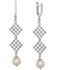 Effy Collection Pearl Lace By Effy Cultured Freshwater Pearl Diamond Shaped Drop Earrings In Sterling Silver 8 1 2Mm