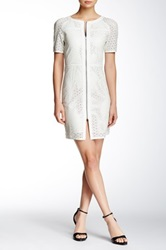 My Tribe Perforated Leather Blend Dress White