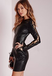 Missguided Faux Leather Lace Up Sleeve Bodycon Dress Black Black